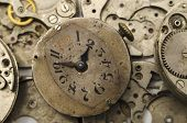Vintage Clock Face Isolated On The Clockwork Background poster