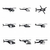 Helicopter Military Aircraft Chopper Icons Set. Simple Illustration Of 9 Helicopter Military Aircraf poster