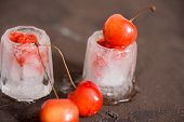 Fresh Cherry Cocktail. Fresh Summer Cocktail With Cherry And Ice Cubes. Glass Of Cherry Soda Drink O poster