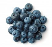 Top view of blueberries heap isolated on white poster