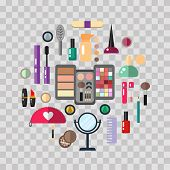 Beauty Store With Cosmetic Objects Mascara, Gloss, Eyeshadow, Lipstick, Cream, Blush, Perfume. Make- poster