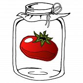 Pickled Tomato In Glass Jar. Vector Illustration Of A Tomato In A Jar. Hand Drawn Pickled Tomato In  poster