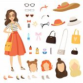 Clothing Of Fashionable Girl. Cartoon Female Character With Various Fashion Accessories And Clothes. poster