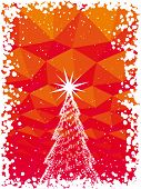 Vector abstracto árbol de Navidad con brillo rojo fondo