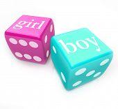 Twee dobbelstenen - blauwe en roze gemarkeerd jongen en meisje - rollen om het geslacht van uw baby denk dat u en uw p