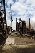 stock photo of blast-furnace  - working steel blast furnace in europe factory - JPG