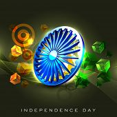 image of asoka  - Indian flag color creative background with 3D Asoka wheel - JPG