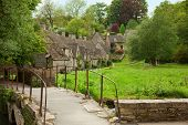 Bibury. Traditional Cotswold cottages in England, UK. spring. Bibury