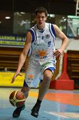 KAPOSVAR, HUNGARY - FEBRUARY 22: Unidentified player in action at a Hungarian Cup basketball game wi