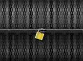 Abstract grid metal lock horizontal