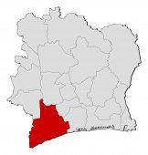 Mapa de Costa de Marfil, Bas-sassandra destacada