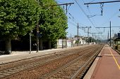 stock photo of gare  - Train station in french town Montelimar France - JPG