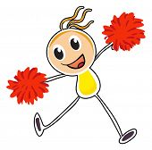 Illustration of a sketch of a cheerleader with red pompoms on a white background