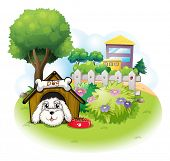 Illustration of a white puppy inside a doghouse on a white background