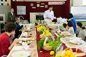 MOSCOW - APRIL 13: Chef Andrew Kuspits shows how to properly prepare and eat seafood at culinary master class