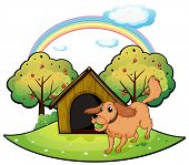 Illustration of dog playing outside the doghouse near the apple tree on a white background