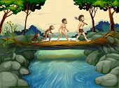 stock photo of ape-man  - Illustration of the evolution of man at the river - JPG