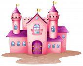 Abbildung einer rosa farbigen Burg