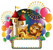 Illustration of a lion king lying in front of a castle with balloons and fireworks on a white backgr