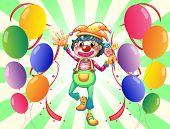 Illustration of a female clown in the middle of the balloons