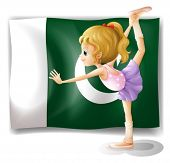 Illustration of a young ballet dancer in front of the Pakistan flag on a white background
