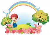 Illustration of a boy at the hill with a rainbow on a white background