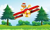 foto of float-plane  - Illustration of a boastful tiger riding in a plane - JPG