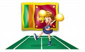 Illustration of the flag of Sri Lanka and the cheerdancer with yellow pompoms  on a white background
