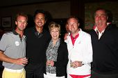 LOS ANGELES - APR 15:  Benjamin Bratt, Dennis Wagner and his family at the Jack Wagner Celebrity Gol