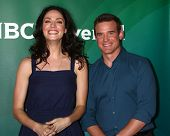 LOS ANGELES - APR 22:  Joanne Kelly, Eddie McClintock at the NBCUniversal Summer Pres Day 2013 at th
