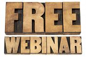 free webinar - internet communication concept - a collage of isolated words in vintage letterpress wood type printing blocks