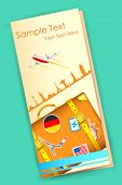illustration of travel brochure with luggage and airplane