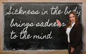 Teacher Showing Sickness In The Body Brings Sadness To The Mind On Blackboard