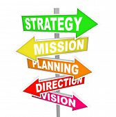 The words Strategy, Mission, Planning, Direction and Vision on colorful road signs pointing toward a