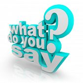 The words What Do You Say and Question Mark to ask what your opinion is and survey for your feedback