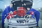 Two happy mechanics consulting futuristic interface with car diagram and statistics with open hood