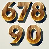 Wooden characters set with gold frame. Numbers 6-0