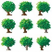 stock photo of ash-tree  - Set of simple green pixel tree - JPG