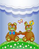 Colorful scrapbook with bunny and bear