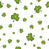 picture of saint patricks day  - Seamless st patricks background with glossy shamrocks - JPG