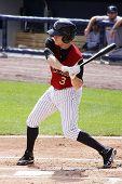 Scranton Wilkes Barre Railriders' Dan Johnson swings at a pitch