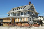 Destroyed beach houses in devastated area six months after Hurricane Sandy