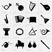 stock photo of bagpiper  - Set of musical instrument icons on light grey background - JPG