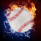 Baseball ball in fire flames and splashing water