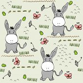 foto of burro  - babies hand draw seamless pattern with burros - JPG
