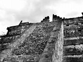 picture of conquistadors  - Mayan ruins of Chichen Itza in Yucatan Mexico temple stairs - JPG