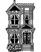 Victorian Row House - Retro Clip Art Illustration