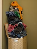 Dirty Laundry In Hamper Side View