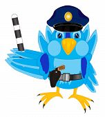 image of truncheon  - Illustration of the bird sparrow police  - JPG