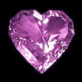 Corazón de diamante aislado con trazado de recorte